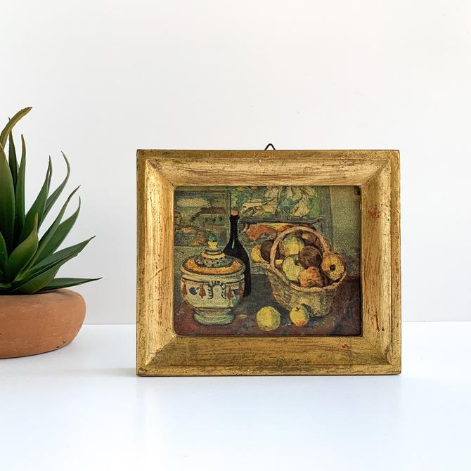 Small Vintage Still Life Lithograph Print, Paul Cezanne, Made in Italy, Gold Framed Still Life of Fruit Basket and Wine by PebbleCreekGoods