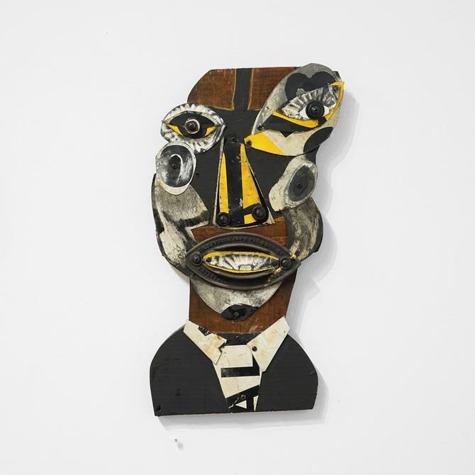 mark brown 'smiling man' folk art sculpture, mark brown artist, folk art, folk art sculpture, folk art mask,  visionary art, americana, mask by pulpholyoke