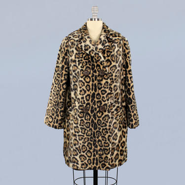 1960s Coat / 60s Faux Fur Leopard Print Coat / Double Breasted by GuermantesVintage