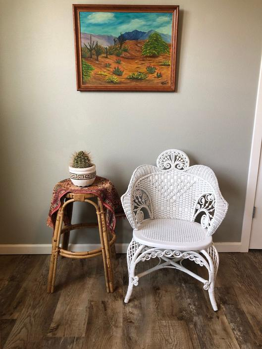 Vintage Woven Wicker and Cane Peacock Style Chair by DesertCactusVintage
