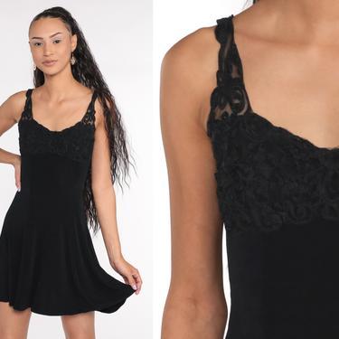 Black Party Dress 90s Mini Dress Soutache Club Dress Sleeveless Sheath Cocktail Vintage Gothic 1990s Minidress Goth Small S by ShopExile