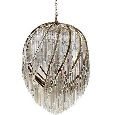 Grand Swirl Mid Century Modern Brass Crystal Chandelier
