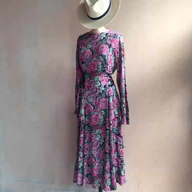 Vintage 80s Floral Side Tiered Dress w/ Attached Sash by LucileVintage