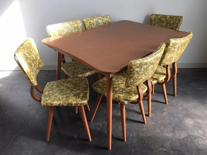 vintage mid century modern dining set with 6 chairs + expandable table.