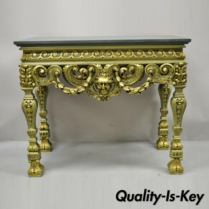 Vintage French Baroque Green Gold Gilt Figural Carved Slate Top Console Table