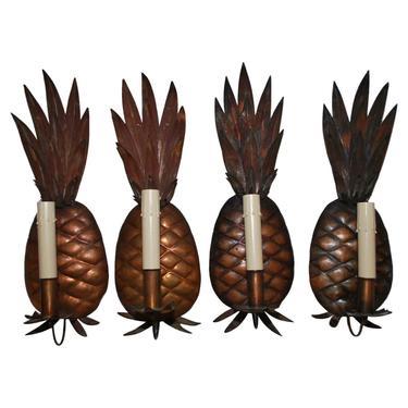 Rare Set of Four 1960s Copper Pineapples Sconces