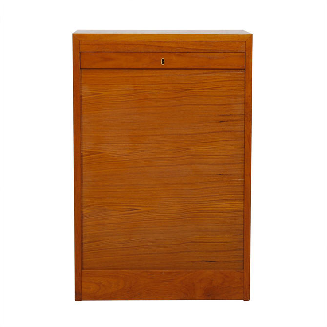 Petite Danish Teak Tambour Door Filing Cabinet