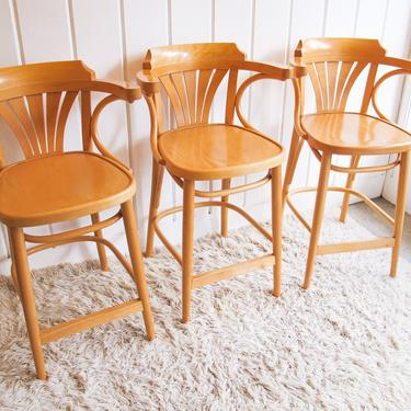 Vintage Thonet Style Barstools  with Bentwood Frames (Set of 2 or 3) by PortlandRevibe