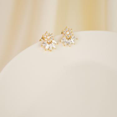gold cz floral ear stud earring, cz flower ear stud earring, cz floral earring, cz flower earring, gift for her, cz flower stud earring by melangeblancdesigns