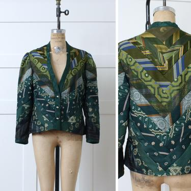 womens vintage necktie jacket • dark green quilted style puff sleeve jacket made of 70s ties by LivingThreadsVintage
