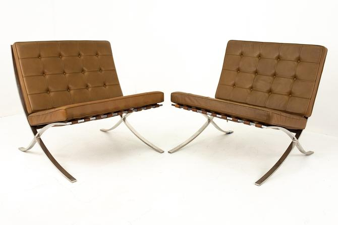 Mies Van der Rohe for Knoll Mid Century Leather and Stainless Steel Barcelona Chairs - Pair by ModernHill