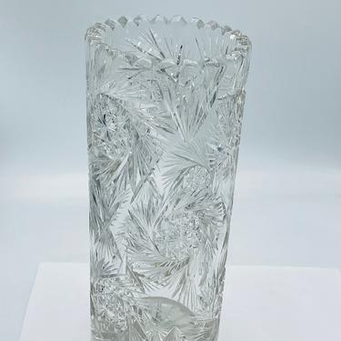 """ABP American Brilliant Cut Style Glass Large Brilliant Cylinder Vase 10""""x4.25"""" Great Condition- Buzz Sawtooth by JoAnntiques"""
