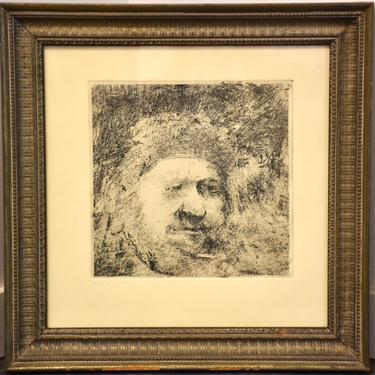 """1967 Portrait Etching of Rembrandt By Joel Iskowity Titled """"Homage to Rembrandt"""" by mixedmodern1"""