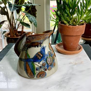 Vintage Tonala, El Palomar, Ken Edwards Pitcher, Creamer, Cream or Syrup Pitcher - Stoneware, Mexico, Bird Butterfly Blueberries, Handmade by VenerablePastiche