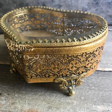 Gilt Jewelry Casket Box, Heart Shape, Beveled Glass, Velvet Interior, Mid Century, KH by JansVintageStuff