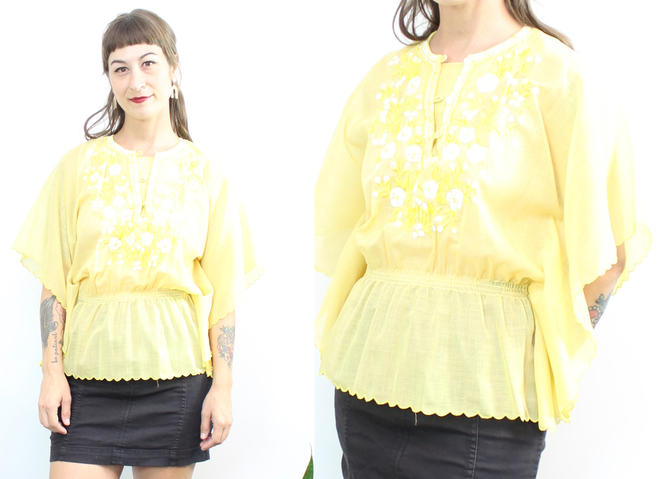 Vintage 70's Semi Sheer Citrine Blouse / 1970's Angel Sleeve Blouse / Embroidered / Women's Size Small Medium by RubyThreadsVintage