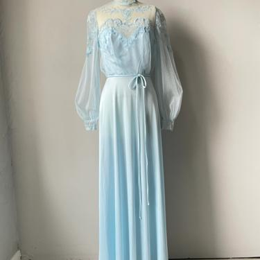 1970s Maxi Dress Illusion Netting Gown S by dejavintageboutique