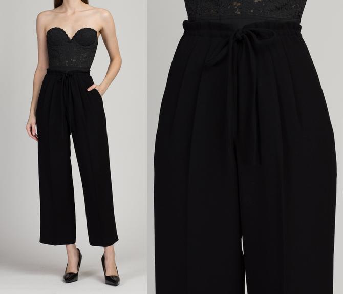 90s Black Minimalist High Waist Drawstring Pants - Small to Medium | Vintage Minimalist Straight Leg Trousers by FlyingAppleVintage