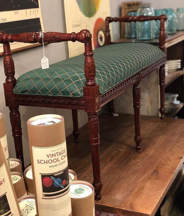 Upholstered mahogany bench $196