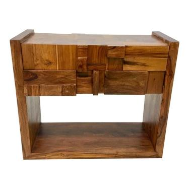 Mid-Century Modern Brutalist Style Global Views Wood Building Block Table