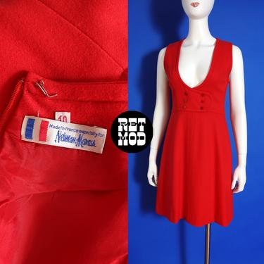 Perfect Vintage 60s 70s Red Wool Jumper Dress by RETMOD