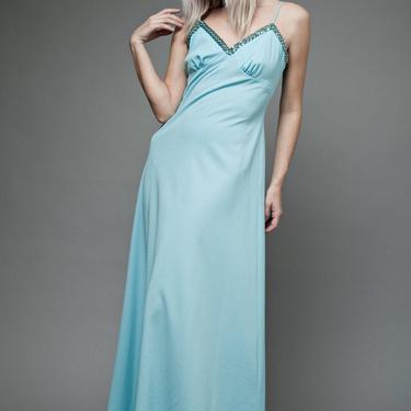 "vintage 70s maxi hostess dress baby blue sequins spaghetti straps empire waist M L MEDIUM LARGE (38"" bust) by shoprabbithole"