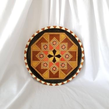 Vintage 80s Marquetry Tray / Round Geometric Wood Inlay Serving Tray / Spanish Taracea Folk Art Wall Decor / Intarsia Circular Wooden Plate by SoughtClothier
