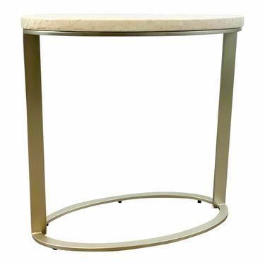 Caracole Modern Beige Stone Oval Side Table