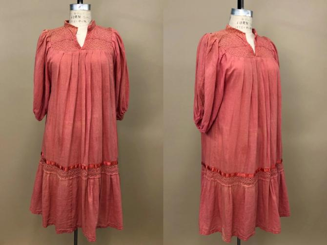 Vintage 1970s Cotton Gauze Dress, Hand Made Mexican Dress, Burnt Sienna Colored Dress, Folk Hippie Mexican, Sold As-Is, Size M/L by MobyDickVintage