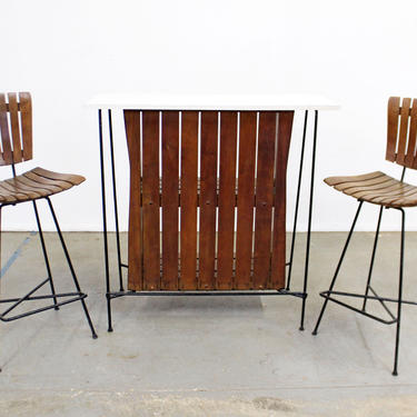 Mid-Century Bar by Arthur Umanoff 3-Piece Slat style & Pair of Stools by AnnexMarketplace
