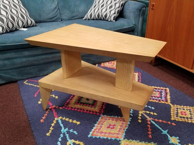 Mid-Century Modern oak wedge table
