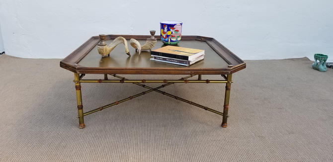 1970's  Vintage  Italian Brass And Wood Faux Bamboo  Coffee Table . by MIAMIVINTAGEDECOR