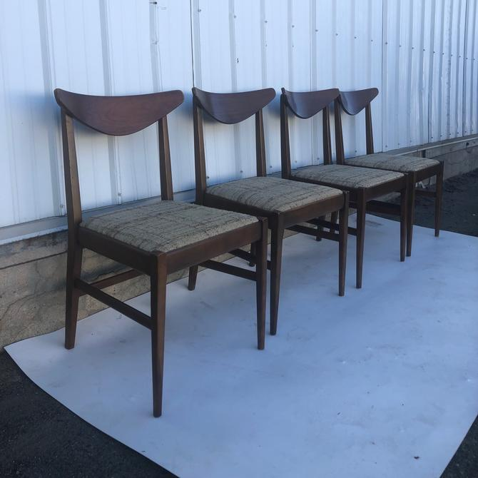 Set of Four Mid Century Walnut Dining Chairs