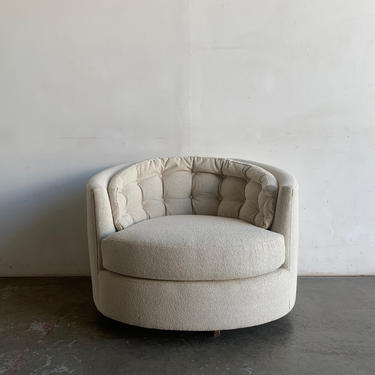 Vintage barrel chair in fresh oatmeal tweed by VintageOnPoint