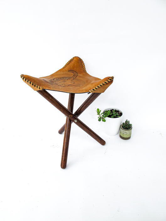 Beautiful Vintage Stamped Tan Leather Tri-Fold Folding Camping Stool with Ox Stamp by PortlandRevibe