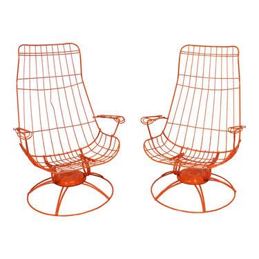 Pair of Mid-Century Modern Homecrest Siesta Swivel Rocker Patio Lounge Chairs by AnnexMarketplace