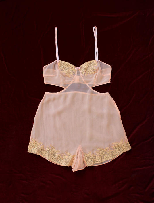 RARE! 1930s Cutout Lingerie Onesie / 30s Silk Cut Out Sides Romper! / Teddy Step In by GuermantesVintage