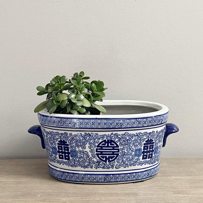 Chinese Planter Double Happiness Blue White Ceramic indoor Planter by ModRendition