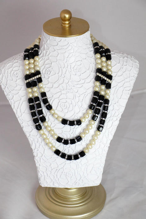 Vintage Mid Century 1950s 60s Pearl Rhinestone and Onyx 3 strand Necklace by WalkinVintage