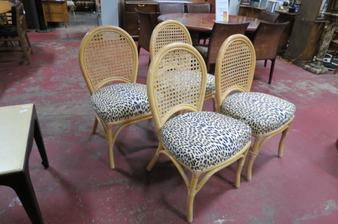 SALE! Vintage MCM set of 4 rattan dining chairs