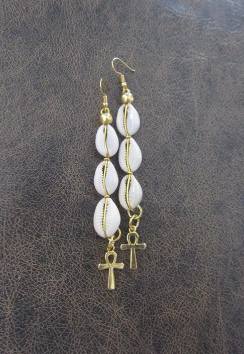Long cowrie shell earrings, brass gold ankh earrings, Afrocentric African earring, Egyptian statement earring, fertility symbol earrings by Afrocasian