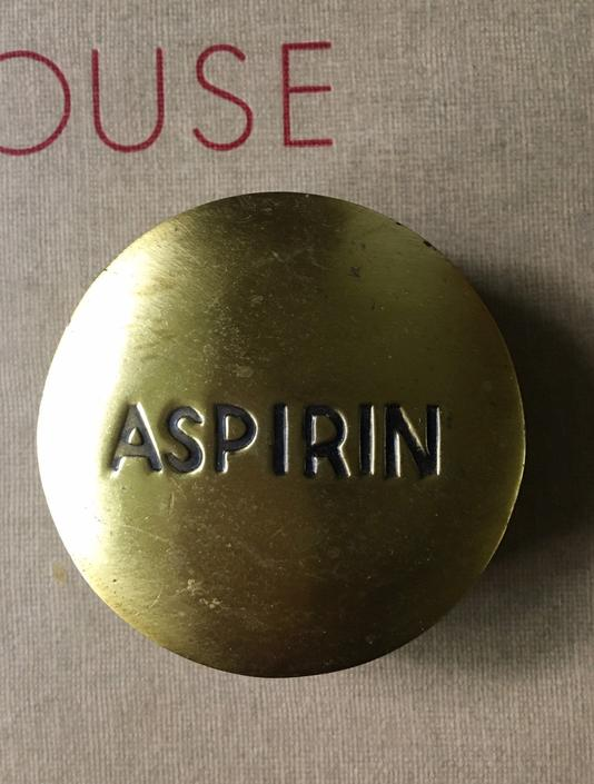 Brass Aspirin Sculpture Bayer Paperweight Art Scientific Collectible Chill Pill Mid century vintage by CaribeCasualShop