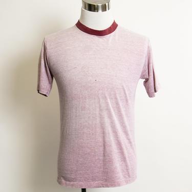 1970s T-Shirt Thin Ringer Distressed Tee Shirt 1970s Medium M by dejavintageboutique