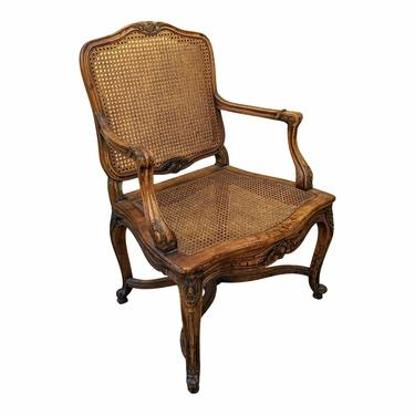 Vintage French Provincial Boho Chic Woven Rattan Arm Chair