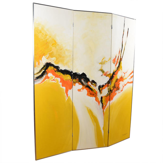 Mid Century Modern Abstract Large Painted Screen \/ Room Divider
