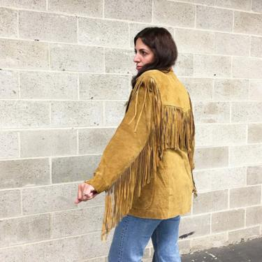 Vintage Fringe Suede Jacket Retro 1980s Winlit + Western Cowgirl + Genuine Leather + Tan + Size Small + Western + Womens Apparel by RetrospectVintage215