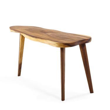 Mid Century Modern Monkey Pod Wood Slab Coffee / End Table by ABTModern