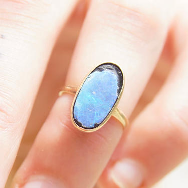 Antique 14K Gold Opal Inlay Ring, Iridescent Blue Opal Stone, Petite Yellow Gold Ring, Worn/Broke Stone, 585 Jewelry, Size 4 US by shopGoodsVintage