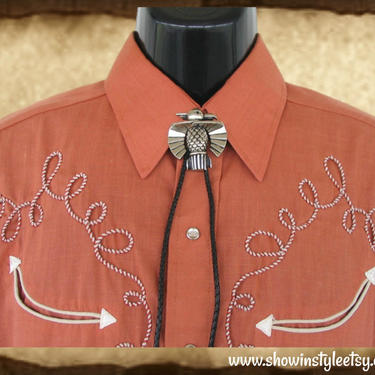 Bolo Tie for Western Shirts, Thunderbird, Black Cord, String Tie by ShowinStyle