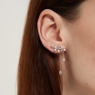 lila rose gold/silver cz flower earrings, flower dangle earrings, long flower earring, cz floral drop earring, cz gold flower dangle earring by MelangeBlancDesigns